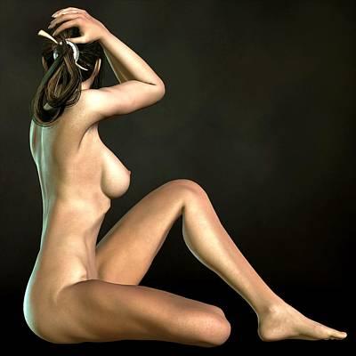 Art Print featuring the digital art Sitting Hude Holding Head by Kaylee Mason