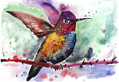 Nature Study Painting - Sitting Hummingbird Watercolor by Tiberiu Soos