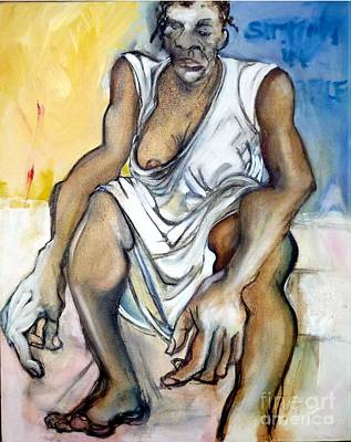 Famine Painting - Sitting In Rubble by Carolyn Weltman