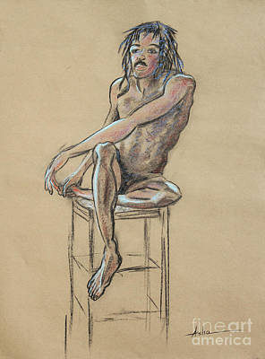 Male Nude Drawing Drawing - Sitting Man Holding His Foot by Asha Carolyn Young