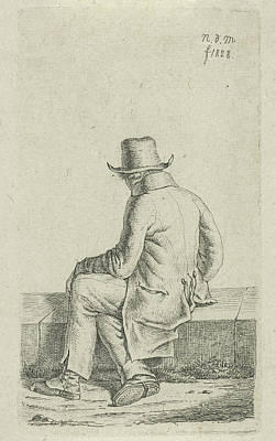 Work On Paper Drawing - Sitting Man On Wall, Anthonie Willem Hendrik Nolthenius De by Quint Lox