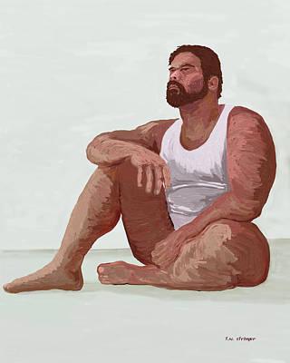 Sitting Man Art Print by Tim Stringer
