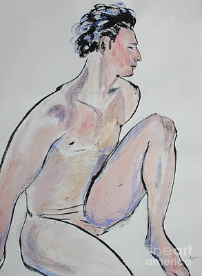 Sitting Man With One Knee Up Art Print by Asha Carolyn Young