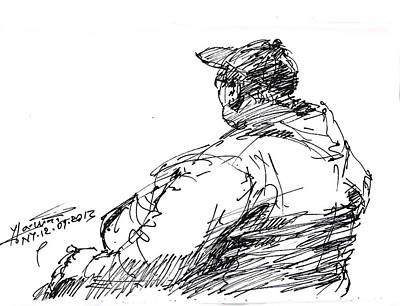 Homeless Drawing - Sitting Man by Ylli Haruni
