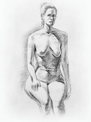 Nude Woman Torso Drawing - Sitting Model Study by Irina Sztukowski