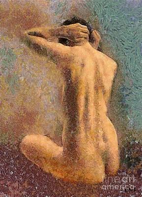 Sitting Nude 3 Art Print by Dragica  Micki Fortuna
