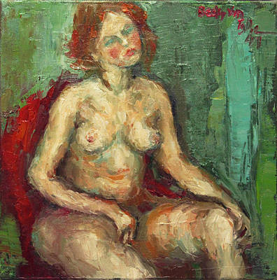 Painting - Female Nude In Red Chiar by Becky Kim