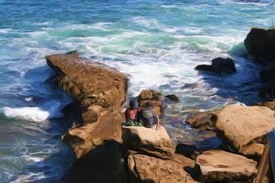 Sitting On Rocks Original by Katherine Erickson