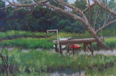 Sitting On The Dock Art Print by Denise  Cox
