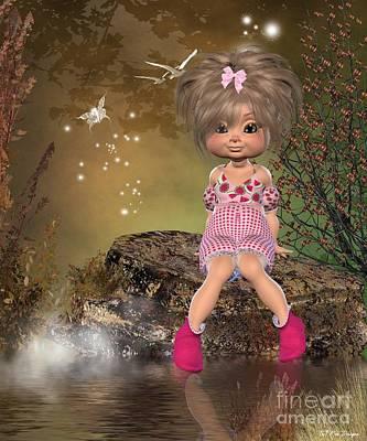 Little Girl Mixed Media - Sitting Pretty  by Toni Jonckheere