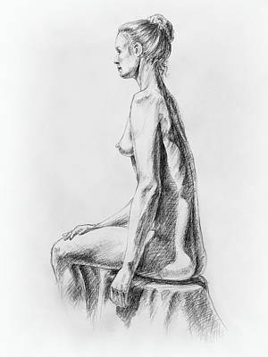 Nude Woman Torso Drawing - Sitting Woman Study by Irina Sztukowski