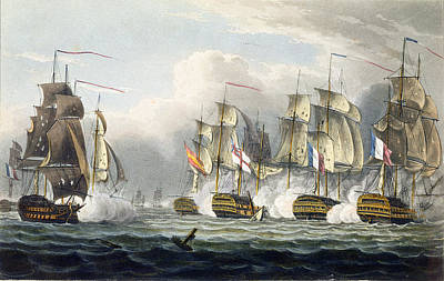 Boats In Water Drawing - Situation Of The Hms Bellerophon by Thomas Whitcombe