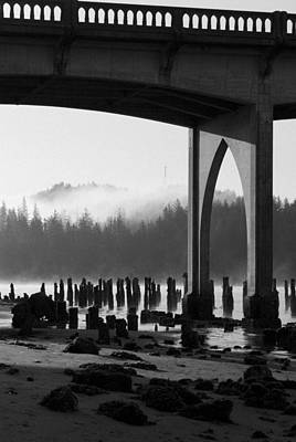 Photograph - Siuslaw River Bridge Florence Oregon Black And White by Renee Hong