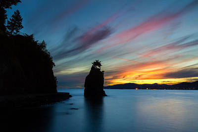 Siwash Rock At Sunset In Vancouver B.c Art Print