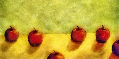 Food And Beverage Royalty-Free and Rights-Managed Images - Six Apples by Michelle Calkins