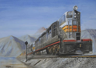 Art Print featuring the painting Six Axles In The Desert by Christopher Jenkins