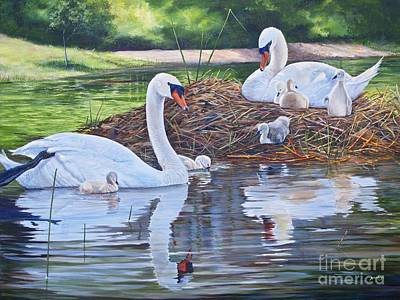 Painting - Six Cygnets by AnnaJo Vahle