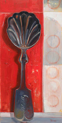 Cadmium Red Painting - Six Degrees Of Separation by Jennie Traill Schaeffer