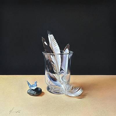 Drawing - Six Feathers by Elena Kolotusha