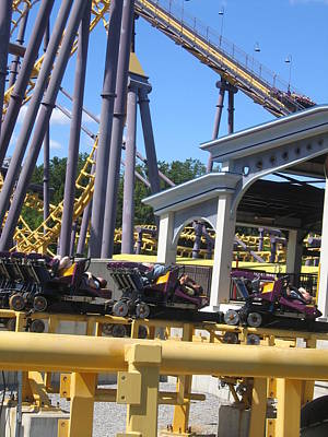 Sixflags Photograph - Six Flags America - Batwing Roller Coaster - 12125 by DC Photographer