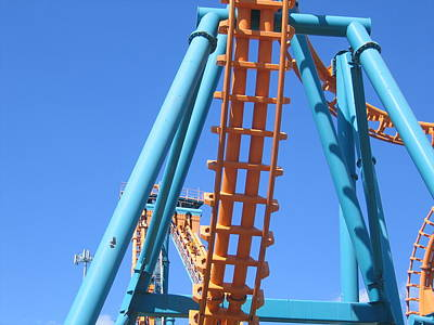 Sixflags Photograph - Six Flags America - Two-face Roller Coaster - 12122 by DC Photographer