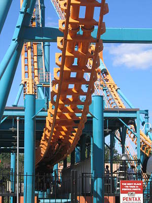 Face Photograph - Six Flags America - Two-face Roller Coaster - 12123 by DC Photographer