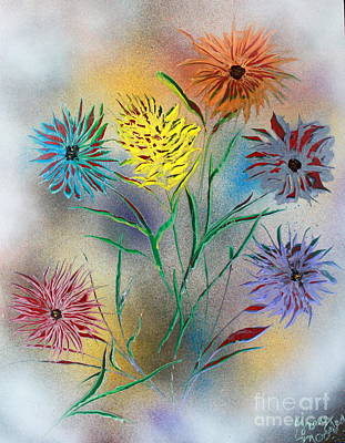 Art Print featuring the painting Six Flowers by Greg Moores