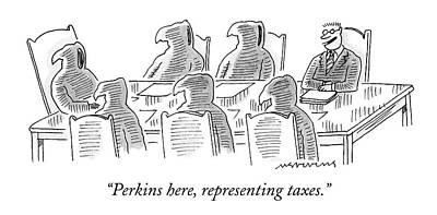 Death Drawing - Six Grim Reapers Sit At A Conference Table by Mick Stevens