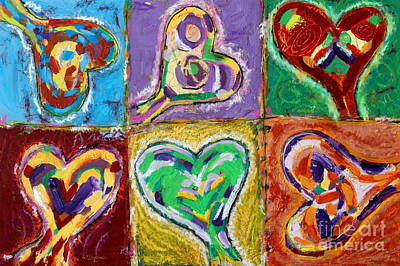 Painting - Six Hearts by Kelly Athena
