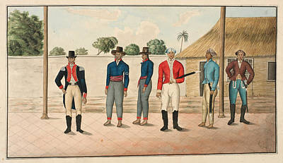 Six Javanese Officers And Men Print by British Library