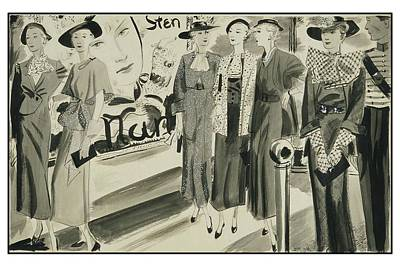 Six Ladies Wearing Summer Clothing Art Print by Jean Pag?s