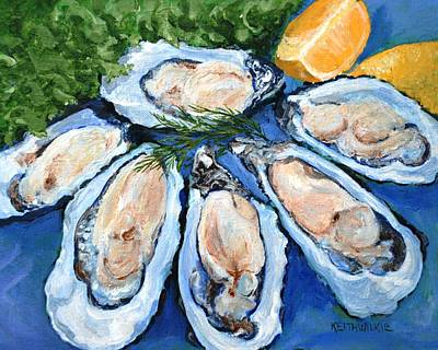 Half Shell Painting - Six On The Half Shell At Gulfstream Cafe by Keith Wilkie