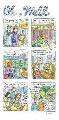 Drawing - Six Panels Showing How A Woman Is Unable To Fit by Roz Chast