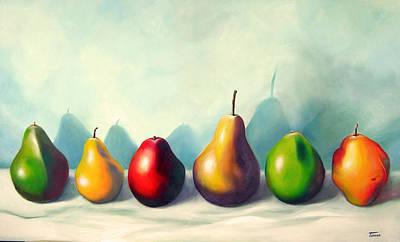 Milena Painting - Six Pears by Ana Tamara