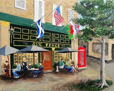 Painting - Six Pence Pub by Marilyn Zalatan