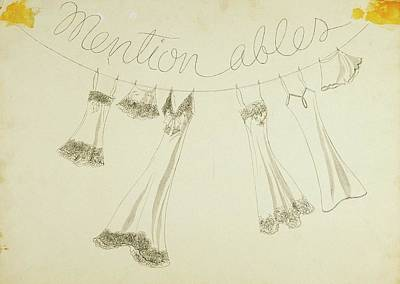 Six Pieces Of Underwear On A String Art Print by W. Mury