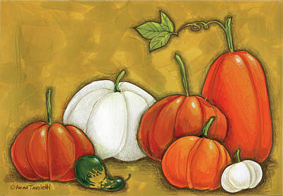 Gourds Painting - Six Pumpkins by Anne Tavoletti