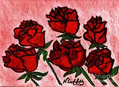 Drawing - Six Roses by Neil Stuart Coffey
