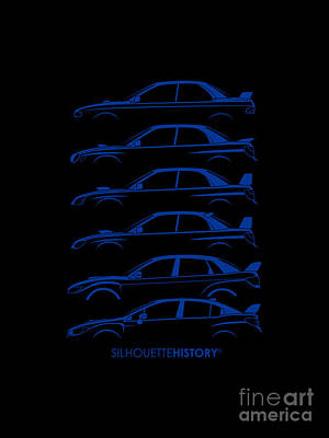 Art Car Digital Art - Six Stars Silhouettehistory by Gabor Vida