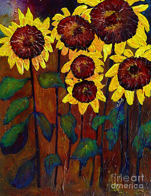 Six Sunflowers Art Print by Claire Bull