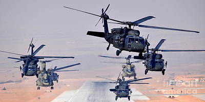 Six Uh-60l Black Hawks And Two Ch-47f Chinooks Art Print