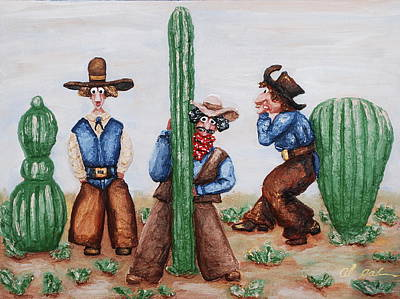 Painting - Sizing Up Your Cowboy  A Cactus Comparison by Alison  Galvan