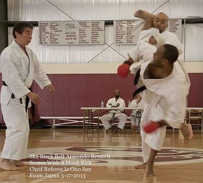 Photograph - Ska Black Belt Armando Bennett Scores With Hook Kick .cheif Referee Is Ono San From Japan by Paul SEQUENCE Ferguson             sequence dot net