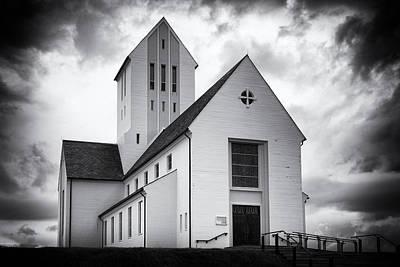 Photograph - Skalholt Church Iceland Black And White by Matthias Hauser