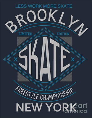 Sign Wall Art - Digital Art - Skate Board Typography, T-shirt by Braingraph