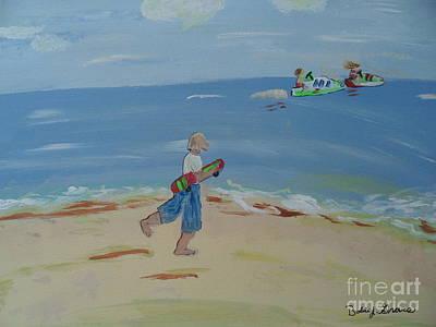 Jet Ski Painting - Skate Boarder Walking Along The Beach by Bobbi Groves