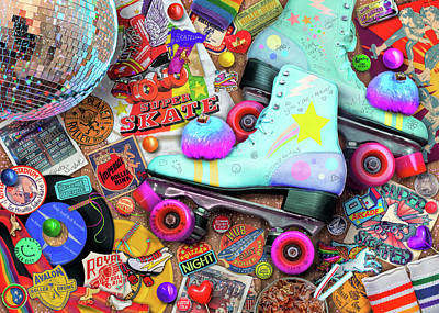Disco Drawing - Skate Night by Aimee Stewart