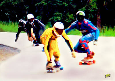 Skateboard Digital Art - Skateboard Racers by CHAZ Daugherty
