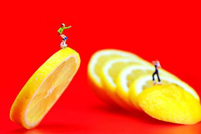 Skateboard Rolling On A Floating Lemon Slice Print by Paul Ge
