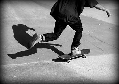 Skateboard Shadow Art Print by Fiona Kennard